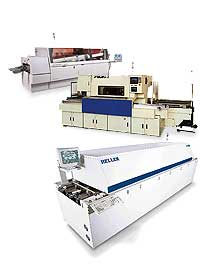 Used Assembly Machinery such as Fuji CP-643E, Fuji IP-3, Fuji QP242E, Contact Systems Contact 3-100, Philips FCM Base II, Zevatech (Juki), Philips, and other pre-owned pick and place equipment, mpm up3000, MPM UP3000/A Hi-E, refurbished dispenser and stencil printers, Heller 1700S, Heller 1500, ERSA, ETS, and other smt curing and reflow ovens, MV Technology (Agilent) testing and inspecting surface mount machines, Chart Industries equipment,  Electrovert,  Electrovert Econopak II SMT,  Electrovert Ultrapak,  Electrovert Econopak,  Electrovert Econopak Plus, zevatron , and other quality used wave solder machines.